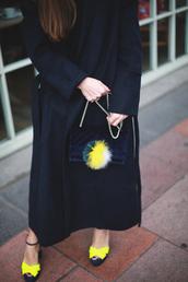 shoes,tumblr,neon,sandals,sandal heels,high heel sandals,coat,black coat,long coat,bag,black bag,fur keychain,bag accessoires,chain bag,velvet