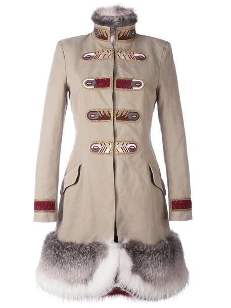 Ermanno Scervino coat military coat fur fox women nude cotton