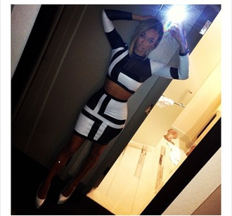 dress white black two-piece fashion bodycon dress style