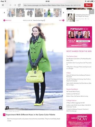 green coat gossip girl blair waldorf