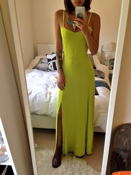 dress summer dress maxi dress split maxi side split green lime side split maxidress