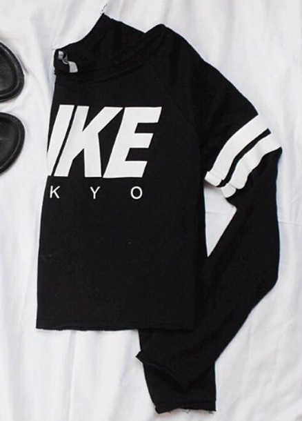 Sweater Stripes Toyko Black White Nike Jumpsuit Wheretoget