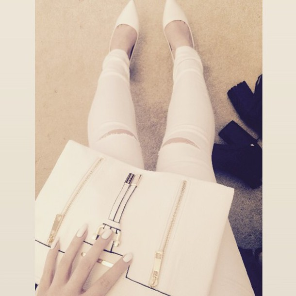 jeans white all white everything elegant white jeans ripped jeans pointed toe hot chic white ripped jeans dress bag