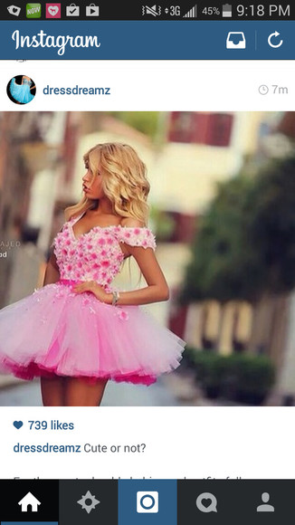 pink dress tulle homecoming dress floral dress