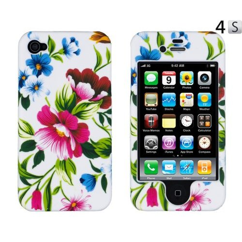 Amazon.com: pink & blue flowers crystal case (front & back) for apple iphone 4, 4s (at&t, verizon, sprint): cell phones & accessories