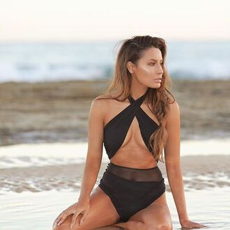 swimwear del mar swimwear bikini luxury beach black one piece classy high end ocean miami california brand two-piece black swimwear black bikini