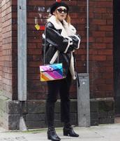 bag,tumblr,multicolor,chain bag,jacket,black jacket,leather jacket,shearling jacket,shearling,jeans,black jeans,boots,black boots,sunglasses,cat eye,beret