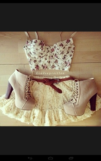 shoes skirt top