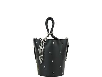 studded rose bag bucket bag black