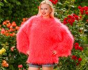 sweater,supertanya,hand,knit,made,mohair,crewneck,soft,fluffy,angora,cashmere,alpaca,wool,coral