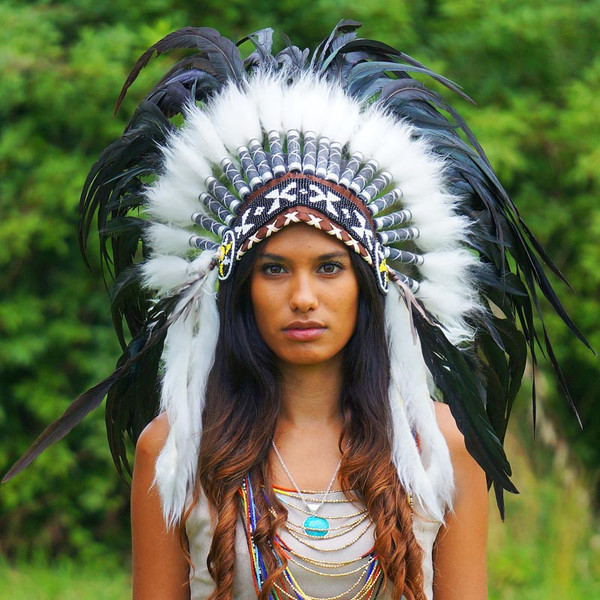 Black Native American Headdress - 75cm – Indian Headdress - Novum Crafts