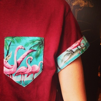 t-shirt red red t-shirt pocket t-shirt pockets flamingo pink short sleeve summer cool cute animal birds