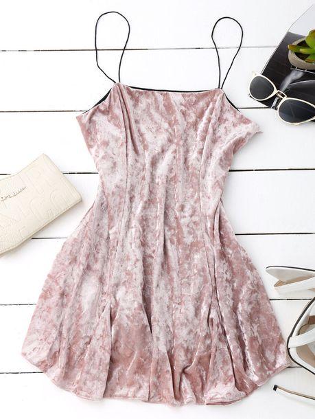 8bbe31bc6d14 dress skater dress velvet dress mini dress cami dress pink dress light pink  pastel pink