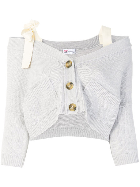 RED VALENTINO cardigan cardigan women cotton wool grey sweater