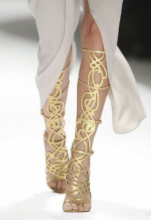 new fashion 2015 gladiator boots gold leather knee
