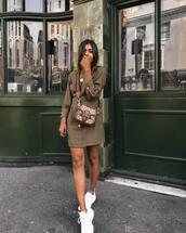 dress,mini dress,long sleeve dress,sneakers,bag