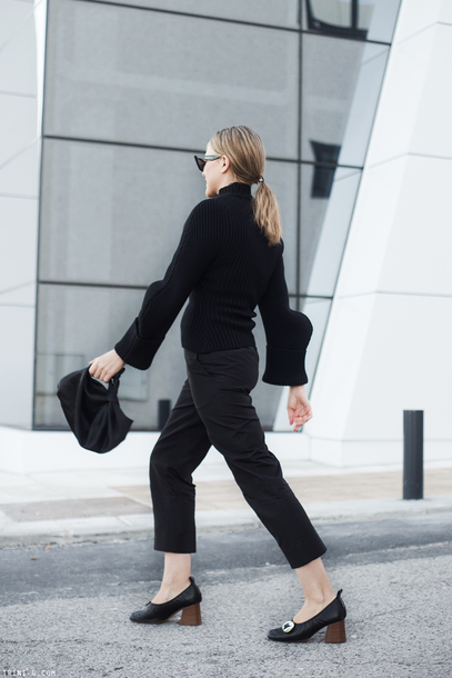 trini blogger sunglasses sweater pants shoes bag black sweater pumps black pants fall outfits