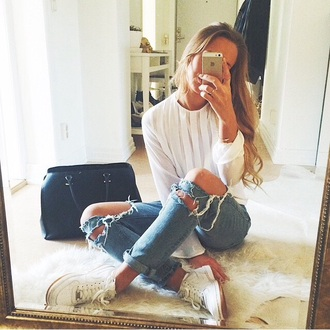blouse white white blouse top white top torn clothes torn jean ripped vintage jeans denim bottom shoes air force ones nike sneakers white air force white air force ones bag black black bag h&m