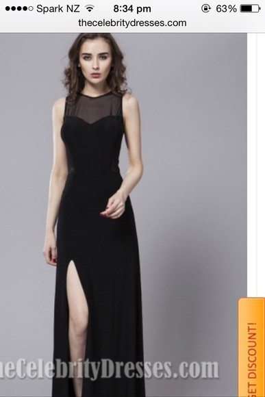 slit black dress celebrity mesh front