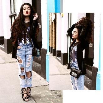 alessandra kamaile blogger ripped jeans black jacket strappy heels leotard