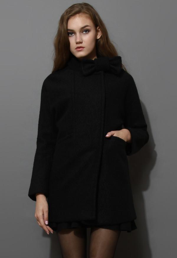 coat wool-felt tweed bowknot black