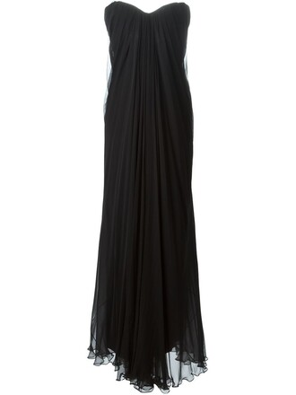 gown women draped black silk dress