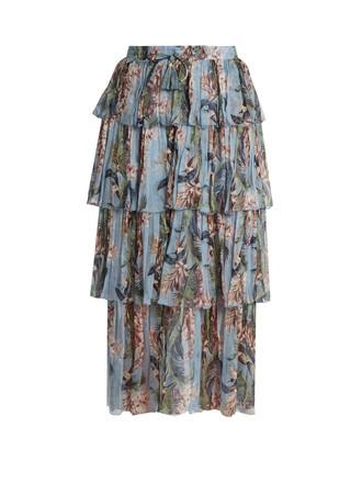 skirt floral print silk blue