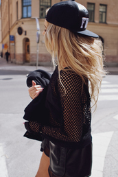 top,shorts,mesh shirt,mesh top,cap,leathet shorts,hat,shirt,black