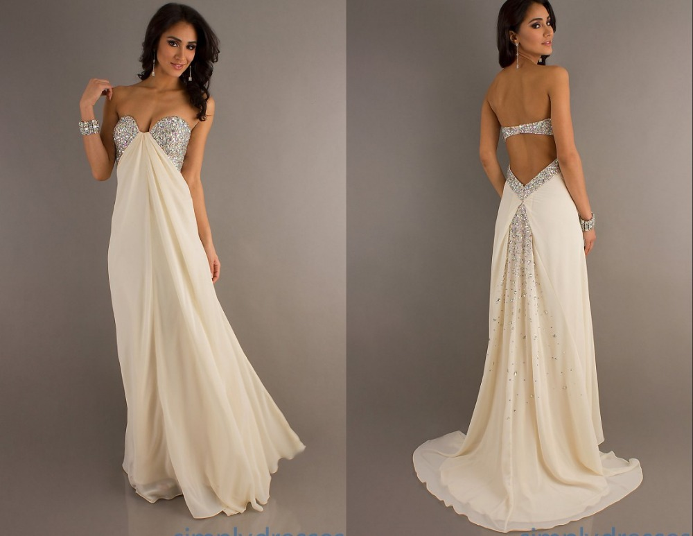 2014 Off White Prom Pageant Dresses Backless With Strap Sweetheart ...