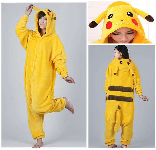 Toileting version pikachu unisex adult flannel pajamas adults cosplay cartoon cute animal onesies sleepwear suit nightclothes