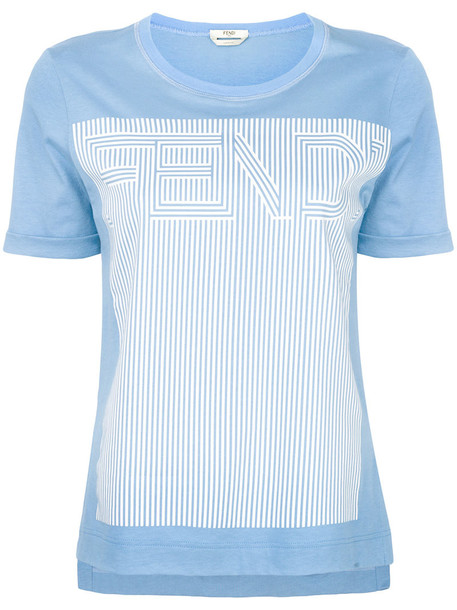 Fendi t-shirt shirt printed t-shirt t-shirt women cotton blue top