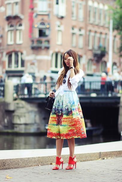 preppy fashionist blogger white shirt midi skirt print red heels sunglasses blouse skirt shoes bag jewels