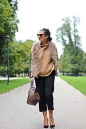 fashionhippieloves,blogger,jacket,sunglasses,bag,louis vuitton,beige fur vest,beige sweater,pants,black pants,culottes,black culottes,cat eye,work outfits