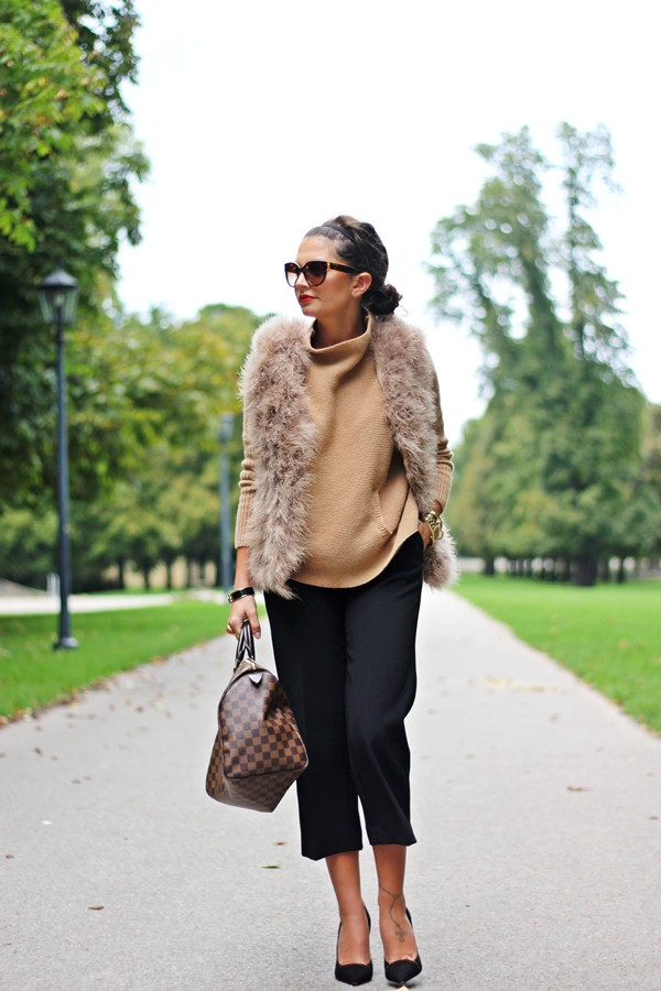 fashionhippieloves blogger jacket sunglasses bag louis vuitton beige fur vest beige sweater pants black pants culottes black culottes cat eye work outfits