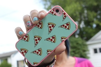 jewels iphone case iphone 4 case pizza iphone food phone phone cover t?rkis pink