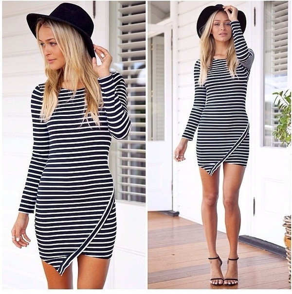 ripped stripes long sleeves night day evening outfits party stripes striped dress dress long sleeve dress evening dress wow