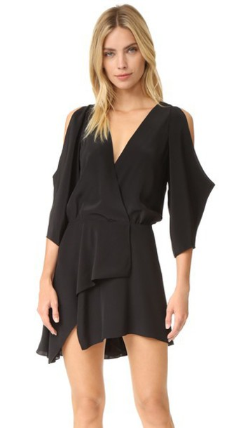Michelle Mason Open Shoulder Mini Dress - Black