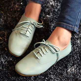 shoes green mint pastel flats sneakers lace-up shoes girly clothes fashion