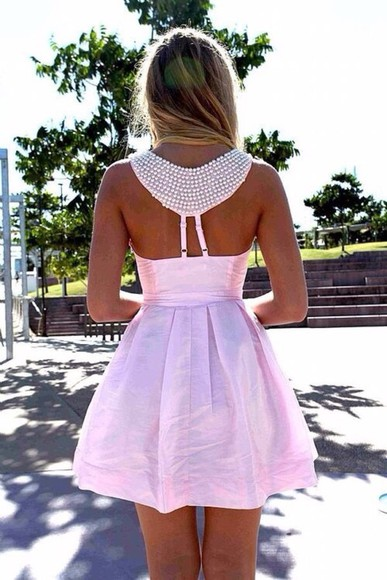 cute dress bright summer pink beads