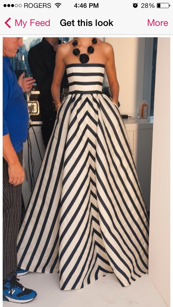 dress black and white stripes strapless long dress