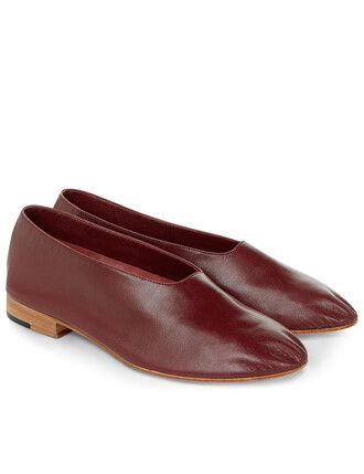 shoes leather burgundy red