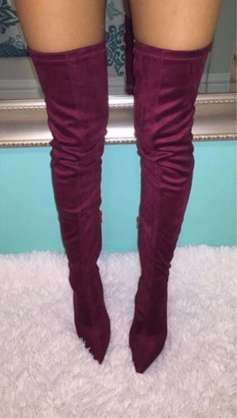Shoes: heels, burgundy, thigh high boots, cute - Wheretoget