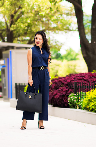 cute & little blogger jumpsuit belt bag shoes jewels blue jumpsuit handbag sandals heels