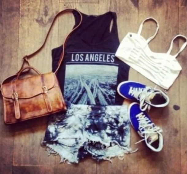 shorts bag shirt bandeau shoes