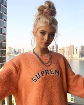 sweater,orange,loren gray,supreme,fluffy