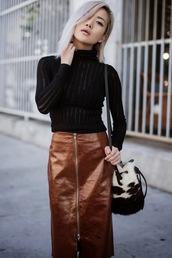feral creature,blogger,top,bag,turtleneck,see through,midi skirt,zip,brown,zipped skirt,zip-up skirt,leather skirt,long sleeves,mesh top,black top,platinum hair,fall outfits