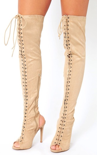 shoes open back over the knee boots pretty little thing boots