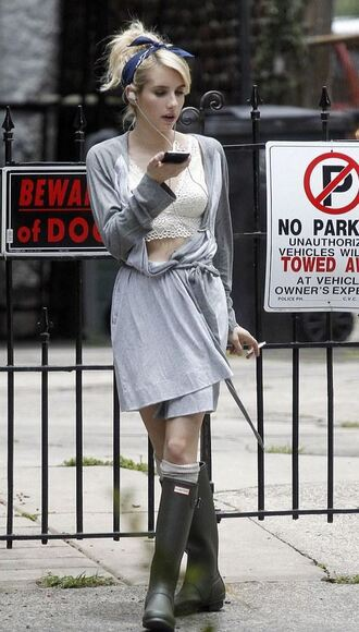 underwear emma roberts lace robe boots coat