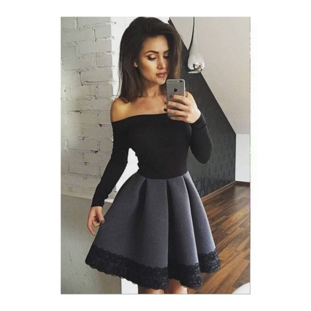 dress black grey skirt black dress lace dress off the shoulder lace bardot black and grey grey dress black lace dark pretty partywear shoulderless homecoming party dress homecoming dress