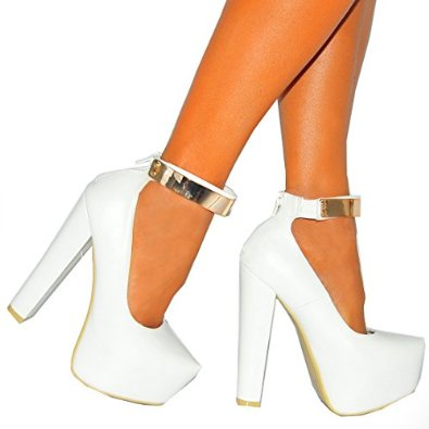 c3060866c Ladies Womens White Pu Faux Leather Gold Metal Ankle Cuff Strap Concealed  Platforms High Heels Court Shoes 3-8: Amazon.co.uk: Shoes & Bags